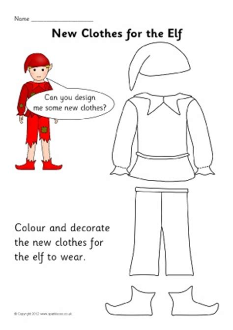 printable elf clothes clothes topic primary teaching resources and printables