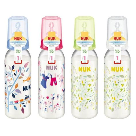 nuk printed pp bottle 0 6m 240ml with silicone teat single pack