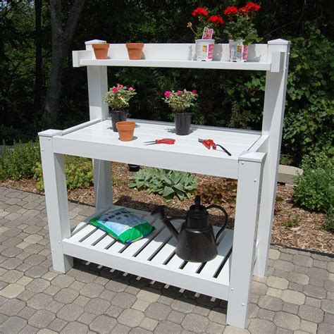 potting bench dura trel 52 in w x 26 in d x 59 in white vinyl hillcrest potting bench 11201 the home depot