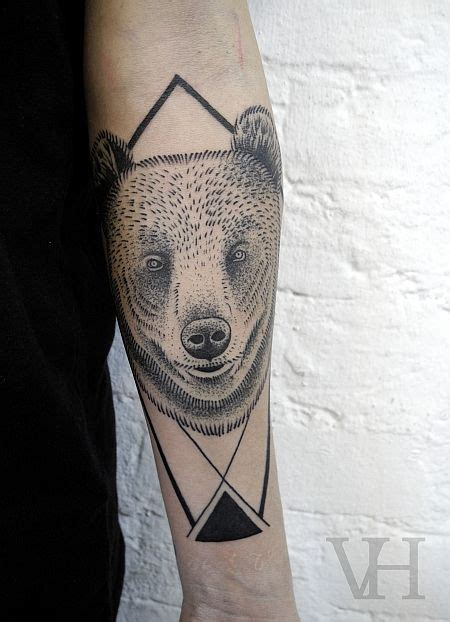 geometric bear tattoo geometric arm triangle