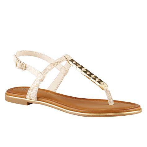 white sandals flat aldo loalian flat tbar sandals in beige white lyst