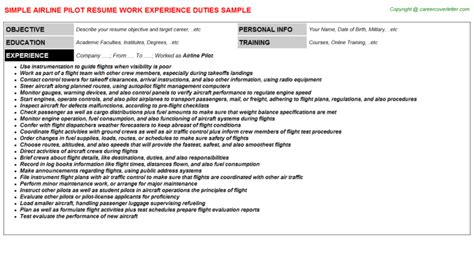 Pilot Description by Airline Pilot Resume Sle