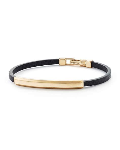 mens leather id bracelets david yurman s leather id bracelet with 18k gold