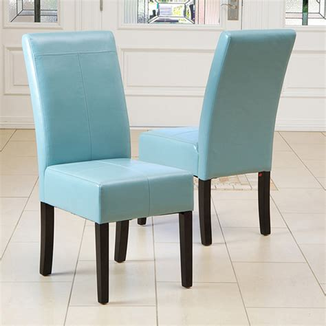 Teal Dining Room Chairs | emilia teal blue leather dining chair set of 2 modern