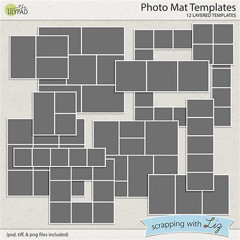 Digital Scrapbook Template Photo Mats Scrapping With Liz Free Photo Mat Templates