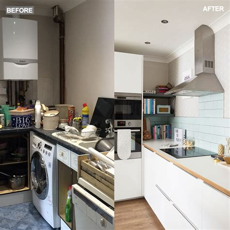 cred dated kitchen becomes bright and open before and open plan kitchen with white gloss units and scandi