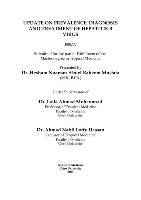 UPDATE ON PREVALENCE, DIAGNOSIS AND TREATMENT OF HEPATITIS