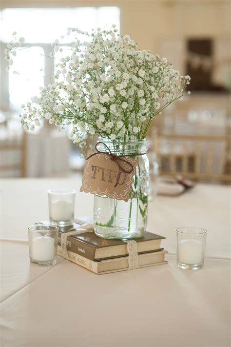 simple rustic centerpiece using books jar
