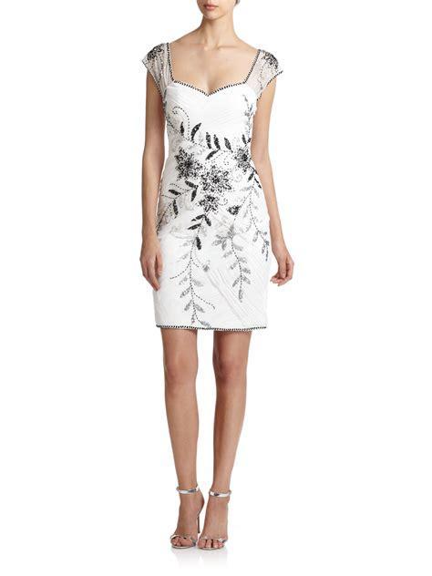 white beaded dress lyst sue wong beaded sweetheart dress in white