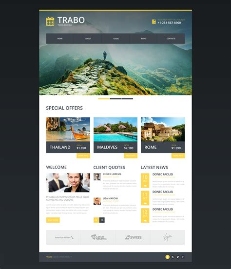 templates for website responsive travel agency responsive website template 47338