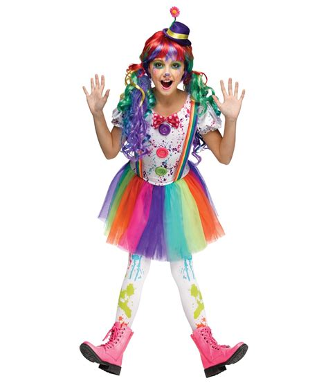 crazy rainbow color girls clown costume clown costumes