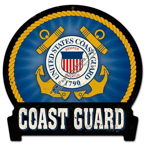 Route 66 Home Decor by Coast Guard Emblem Metal Sign