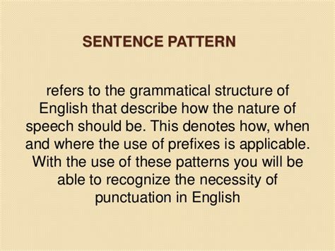 pattern of english speech sentence pattern