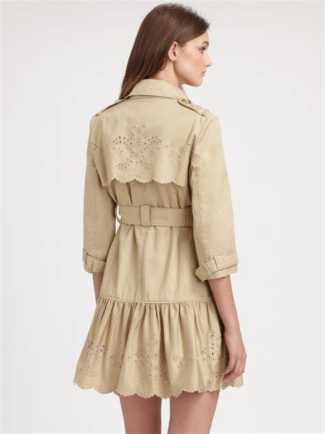 Embroidered Trench Coat lyst valentino embroidered trenchcoat in