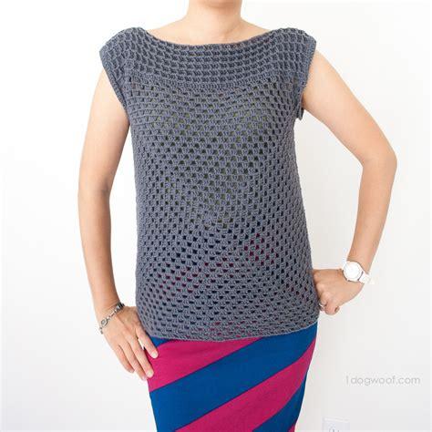 White Crochet Sleeved Shirt 1 Squared Crochet Top One Woof