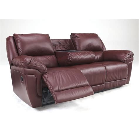 Ashley Magician Leather Reclining Sofa With Drop Down Reclining Sofa With Table