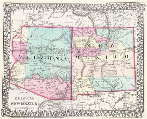 road map of arizona and new mexico file 1877 mitchell map of arizona and new mexico
