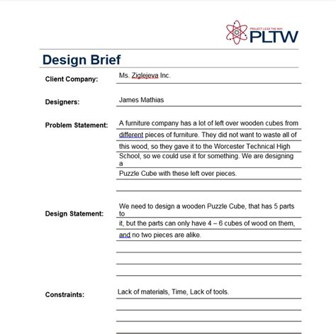 Design Brief Exle Pltw | puzzle cube project my site