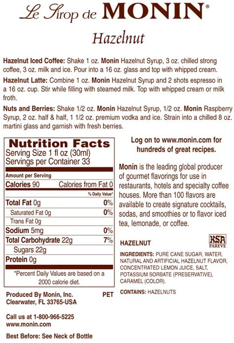 Monin Hazelnut Premium Gourmet Syrup 33.8 oz.