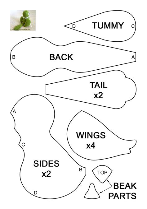 bird sewing template bird plush pattern by kowai usagi on deviantart