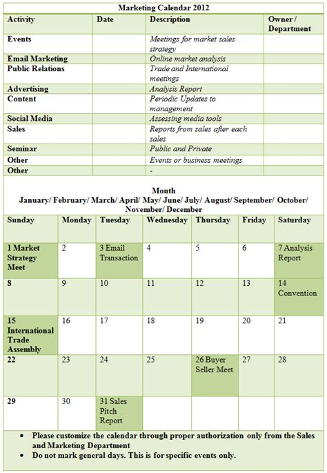 marketing activity calendar template marketing calendar template 2012 calendar template