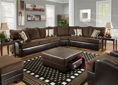 Leather Fabric Sectional Sofa Leather And Cloth Sectional Sofas Sectional Sofas Traditional Upscale Santiago Leather Fabric