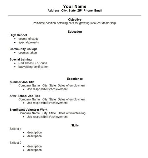 resume templates for high school students with no experience high school student resume exles high school