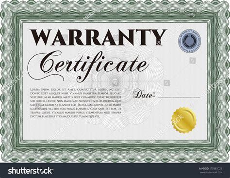warranty certificate template free sle warranty certificate template style stock