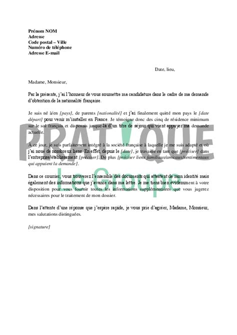 Exemple De Lettre Naturalisation Exemple Lettre De Motivation Naturalisation Document