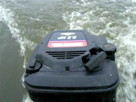 lawnmower boat motor lawn mower engine powered boat trial run youtube
