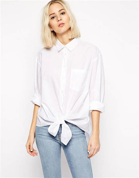 cheap monday cheap monday denim shirt with tie front at asos