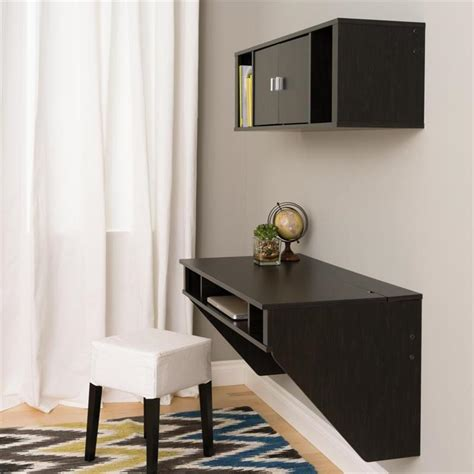 Designer Floating Desk by Prepac Designer Wall Mounted Floating Desk And Hutch Set Black Hrhw 0501 2m