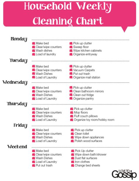 printable list house cleaning chores 8 best images of free printable cleaning charts free