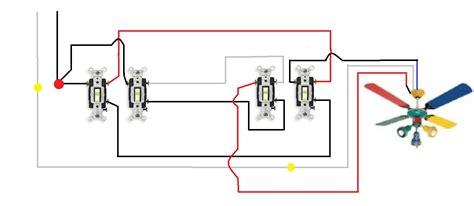 how to wire a ceiling fan with 2 switches how to wire a ceiling fan with two switches diagrams