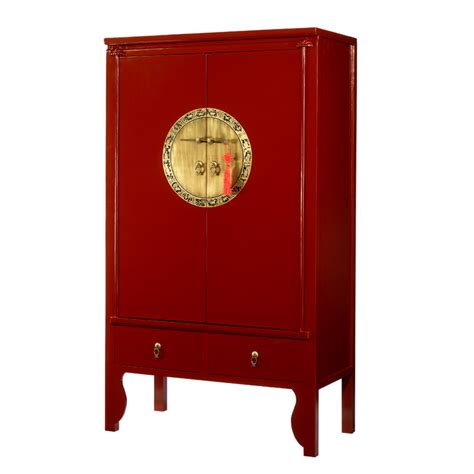 red lacquer chinese style wardrobe wedding cabinet