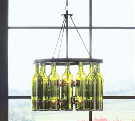 Recycled Wine Bottle Chandelier Furniture Adorable Design For The Wine Bottle As Chandelier With Green Bottles And Shiny Lights