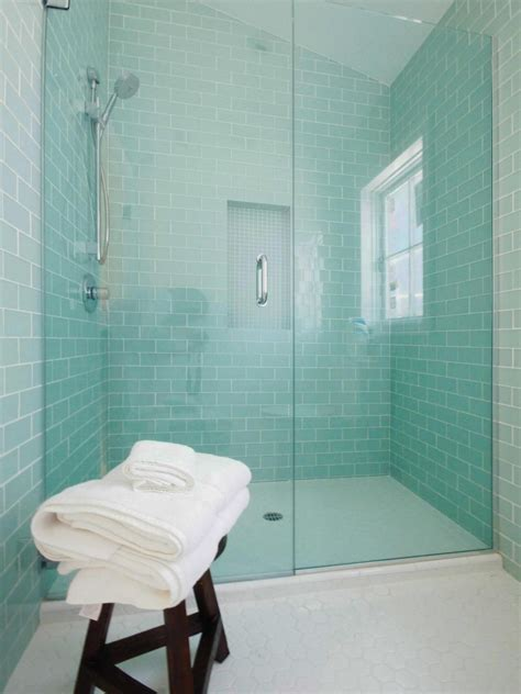 mint colored mint colored subway wall tiles create a serene setting in