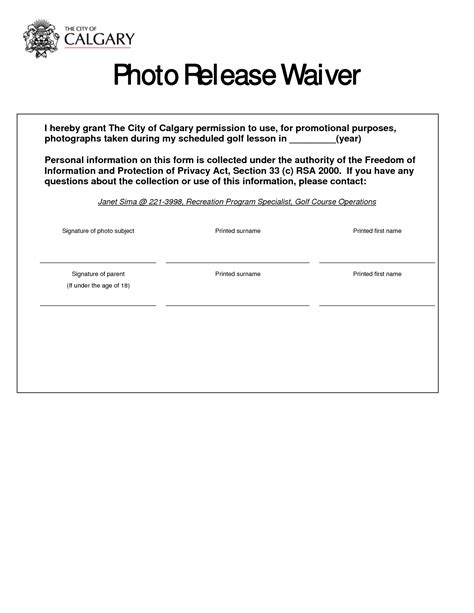 release waiver form template best photos of photo release form template photography
