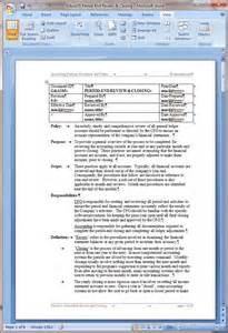 Accounting Policies And Procedures Manual Template by Period End Review And Closing Procedure Word Template