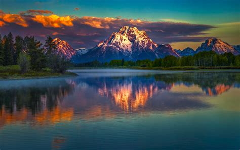 Mountains Reflection Sunrise Colorful Scenery Wallpaper
