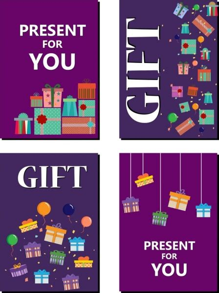 Gift Card Covers - gift card cover sets present boxes text sdecor free vector in adobe illustrator ai