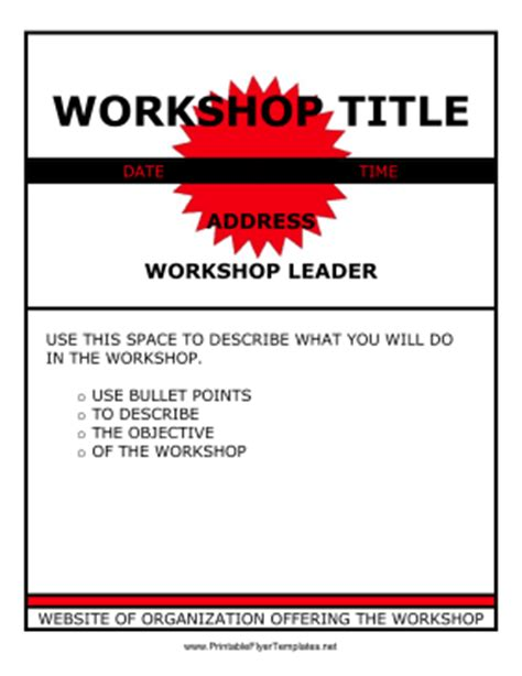 workshop templates workshop flyer