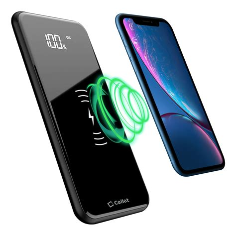portable wireless charger power bank 10000mah with dual usb a ports and usb c port by cellet