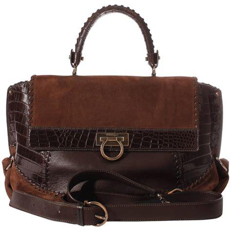 salvatore ferragamo sofia large tote bag brown croco suede for sale at 1stdibs