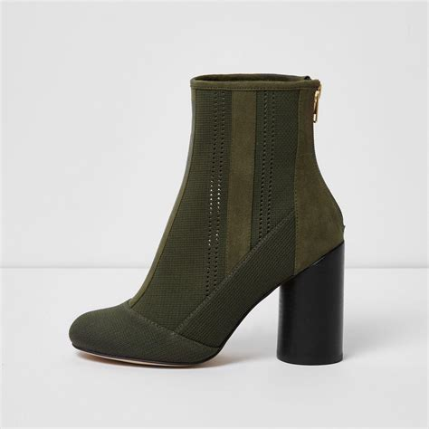 river island shoes river island khaki green knitted ankle boots in green lyst