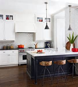 White Kitchen With Black Island Black White Kitchen Stools Islands And