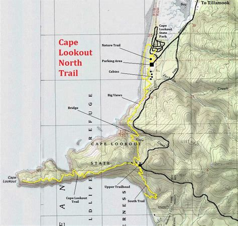 map of oregon lookouts cape lookout trail oregon state parks