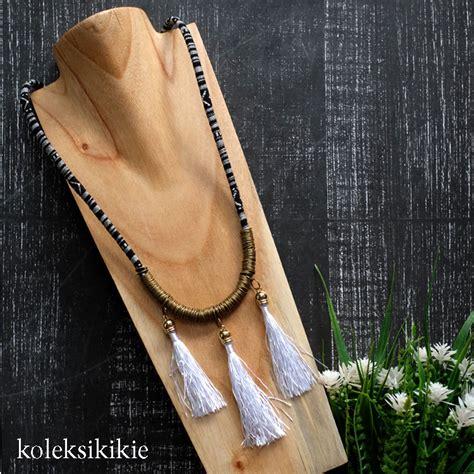 Kalung Emas Hitam kalung tenun charu putih koleksikikie
