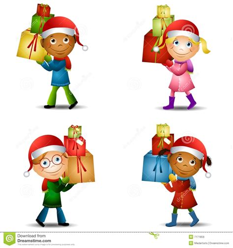 christmas kids with gifts 2 stock illustration image