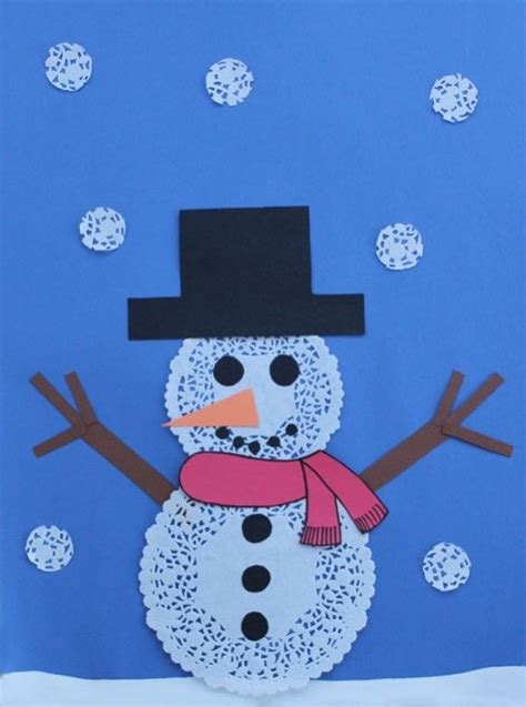 Paper Snowman Craft - using paper doilies to make a snowman snow for